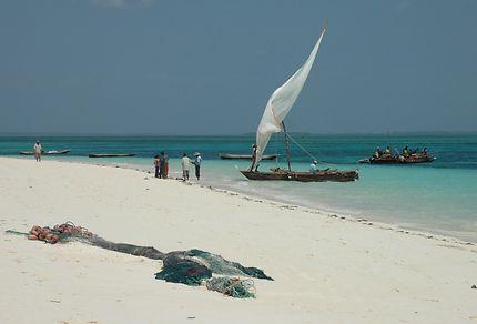 Retour de pêche sur une plage de Zanzibar