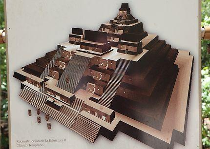 Maquette de la pyramide principale de Calakmul