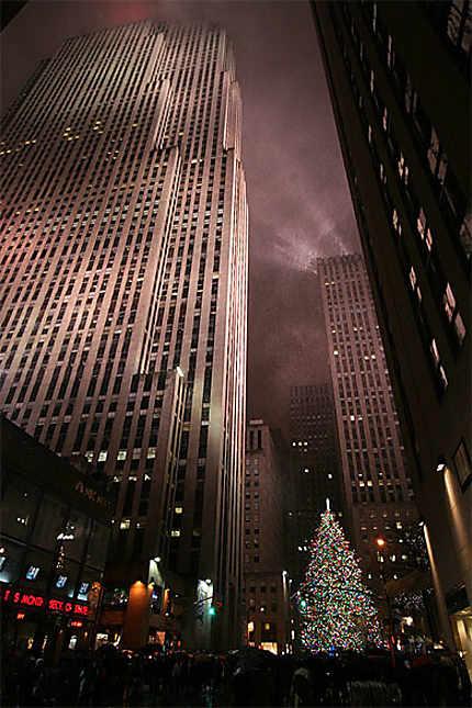 Le Sapin de Noël du Rockefeller Center, sous la neige