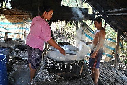 Préparation de la pâte de riz