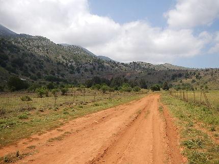Terre arable au pied des montagnes blanches