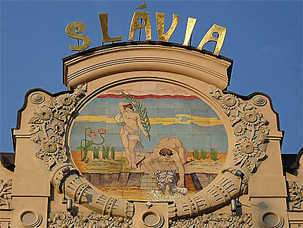 Hôtel Slavia : détail de la façade