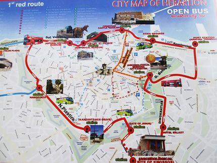 Plan de la ville d'Héraklion et de ses visites