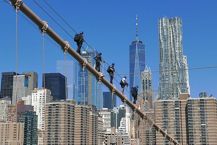Exercice de sauvetage sur le pont de Brooklyn