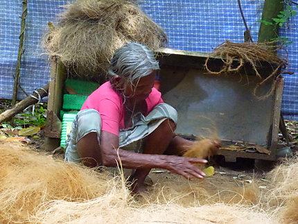Tissage de fils de noix de coco