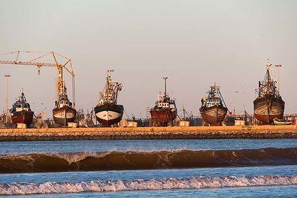 Essaouira, Le chantier naval au lever du soleil