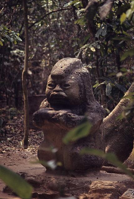 Tête olmèque au parc de La Venta à Villahermosa