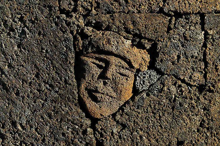 Visage dans la pierre à Chã das Caldeiras, Parc naturel de Fogo (Île de Fogo)