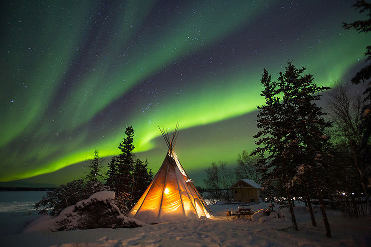 Aurore boréale à Yellowknife, Territoires du Nord-Ouest, Canada