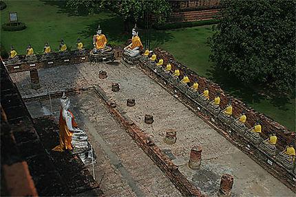 Vue aérienne des bouddhas du Wat Yai Chai Mongkon