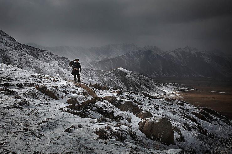 Scène de chasse à l'aigle pendant l'hiver, Kirghizistan