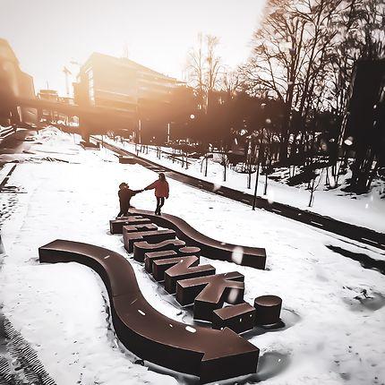 Helsinki sous la neige vu du drone