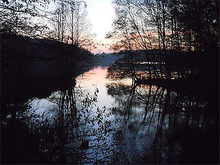 Coucher de coleil sur le plan d'eau de Reichshoffen