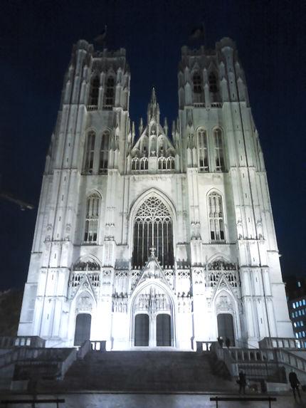 La cathédrale de Bruxelles illuminée