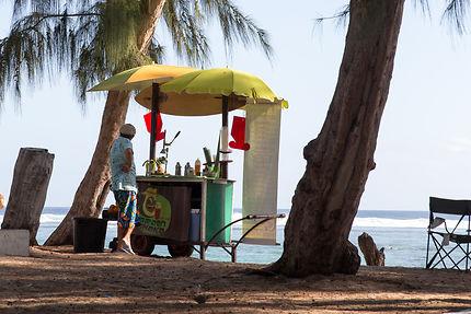 Vendeur sur la plage de St Leu, Ile de la Réunion