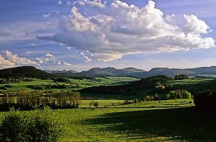 Paysage d'Auvergne vers les volcans