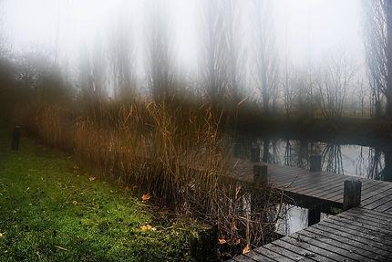 Le ponton embrumé de Dompierre-sur-Charente