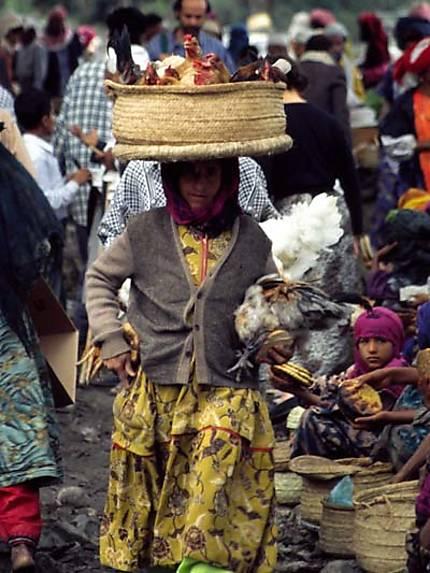 Vendeuse de poules sur un marché