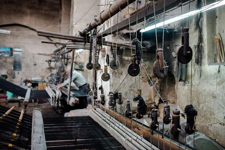 Atelier de tisserands à Kashan, Iran