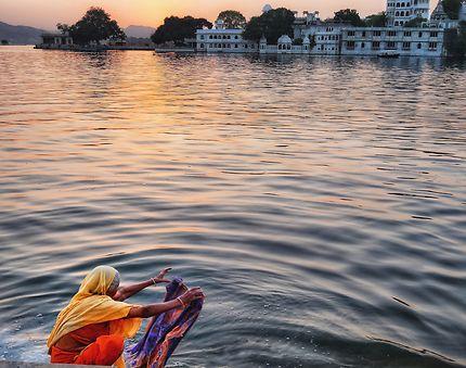 Coucher de soleil sur Udaipur
