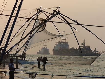 Filets Chinois, tombée du jour port de Kochi