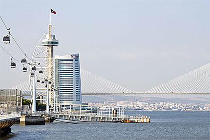 Téléphérique et pont et tour Vasco de Gama