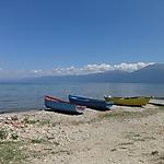 Barques sur le lac d'Ohrid