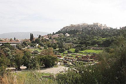 Vue sur le Parthénon depuis l'Agora