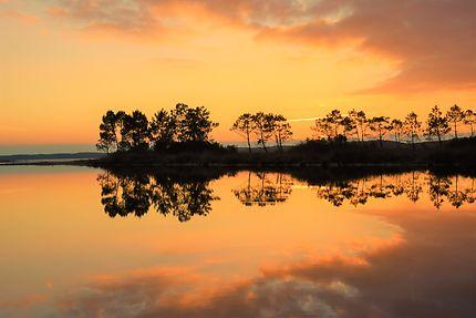 Coucher soleil au lac de Lacanau