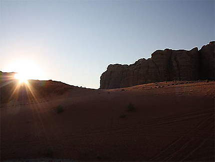 Campement dans le Wadi Rum - coucher de soleil