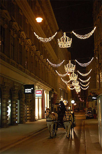 Calèche au centre et éclairage de Noël