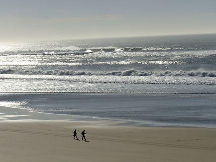Promenade sur l'immense plage de Biscarosse