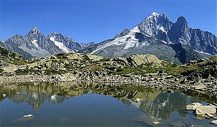 L'aiguille Verte et les Drus, massif du Mont-Blanc