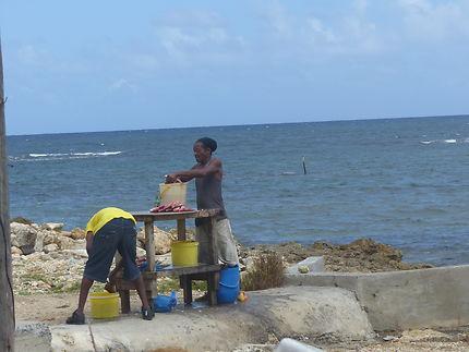 Vendeur de poissons au Moule, Guadeloupe