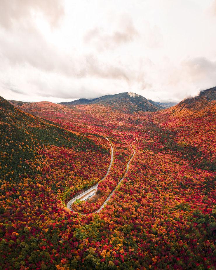 Couleurs d'automne dans les White Mountains, New Hampshire, USA