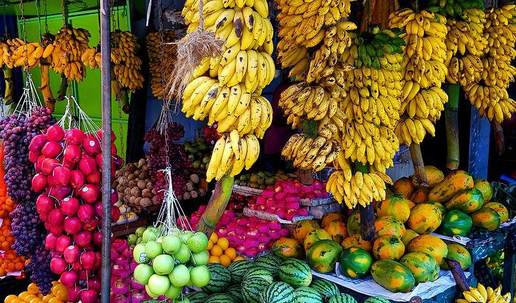 Stand de fruits au marché de Galle, Sri Lanka