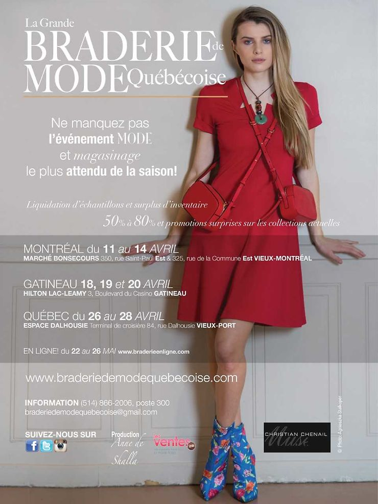 Grande braderie de mode québécoise à Montréal, Québec et Gatineau