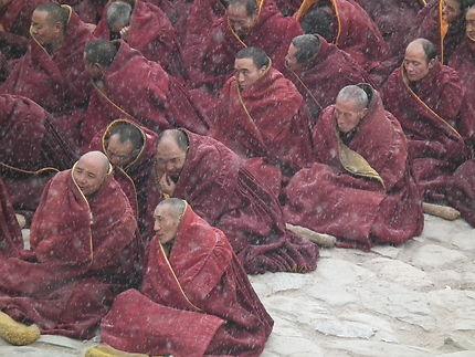 Les moines sous la neige