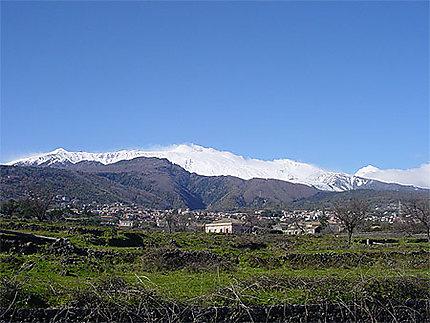 Zafferana et l'Etna en hiver