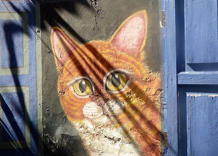 Chat à Malacca, graffiti