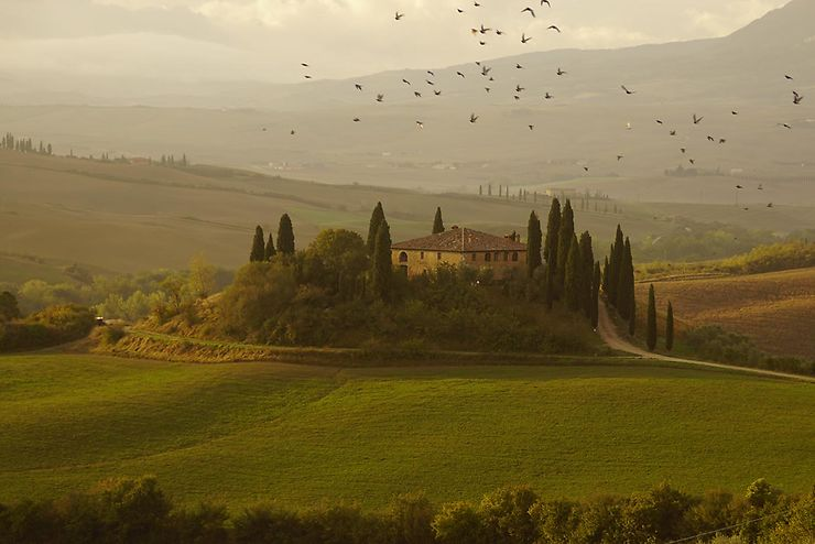 Envol à San Quirico d'Orcia, Toscane, Italie