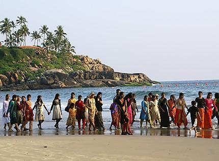 Sortie de filles sur la plage de Kovalam Beach