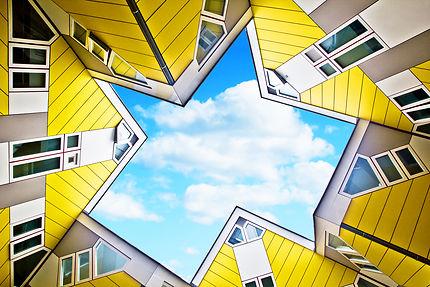 Cube houses vues du ciel