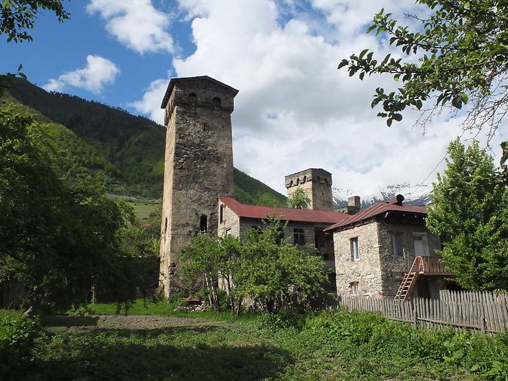 Village en Svanétie, Géorgie