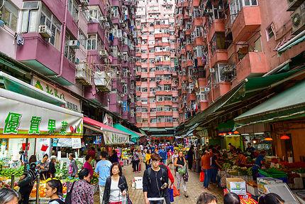 Marché urbain à Hong Kong
