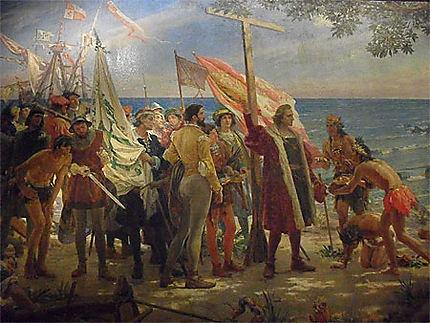 Tableau de Colomb débarquant aux Amériques