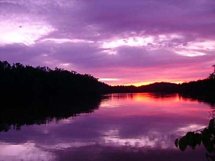 Coucher de soleil sur le fleuve Oyack