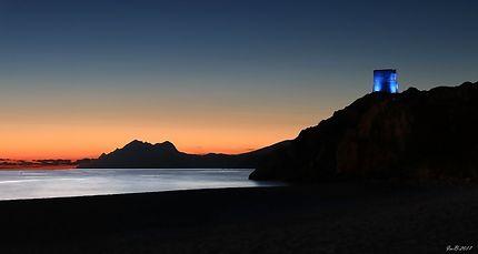 La plage de Piana le soir