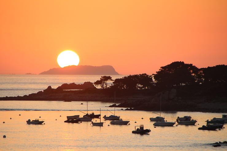 Coucher de soleil à Port Blanc, Bretagne