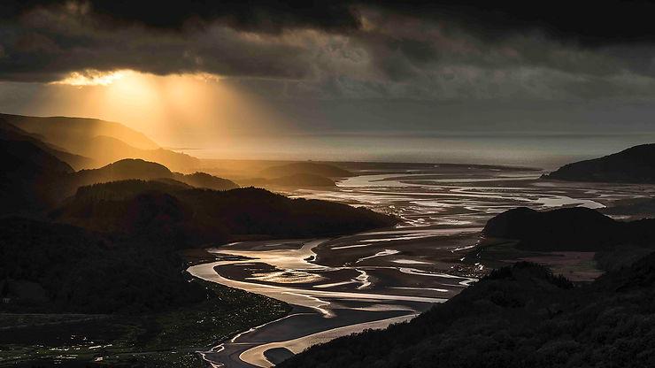 Coucher de soleil sur l'Estuaire de Mawddach, Pays de Galles
